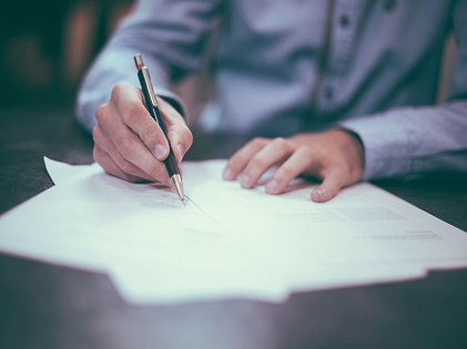 writing document legal paperwork contract sign